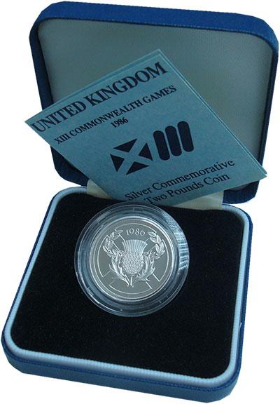 Изображение Подарочные монеты Великобритания 2 фунта 1986 Серебро Proof Елизавета II. Игры С