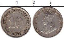 Изображение Монеты Великобритания Стрейтс-Сеттльмент 10 центов 1919 Серебро XF