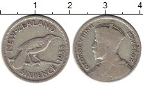 Изображение Монеты Новая Зеландия 6 пенсов 1933 Серебро VF