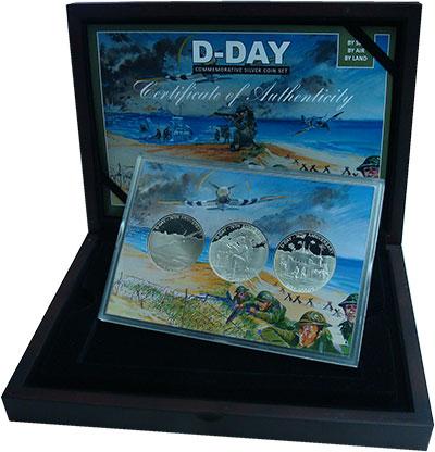 Изображение Подарочные монеты Гернси 70 лет высадке в Нормандии 2014 Серебро Proof Три монеты номиналом