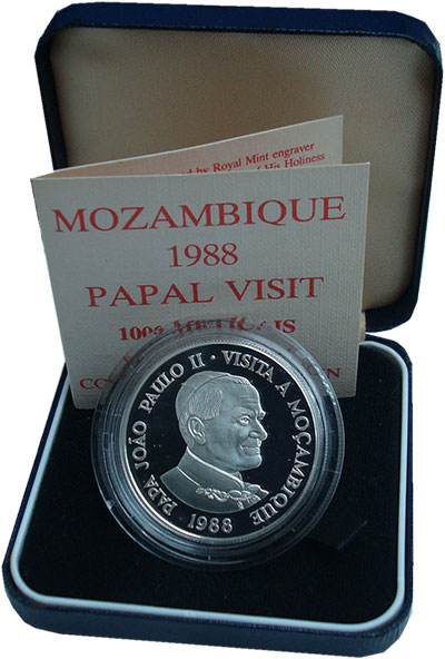 Изображение Подарочные монеты Мозамбик 1000 метикаль 1988 Серебро Proof