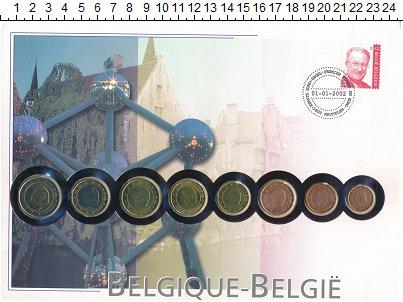 Изображение Подарочные монеты Бельгия Бельгия 1999-2001 0  UNC В наборе 8 монет ном