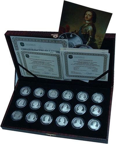 Изображение Подарочные монеты Россия Правители России 2014 Серебро Proof Коллекция из 18 меда
