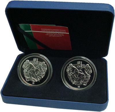 Изображение Подарочные монеты Беларусь Чемпионат мира по хоккею 2014 0 Серебро Proof Набор из двух монет