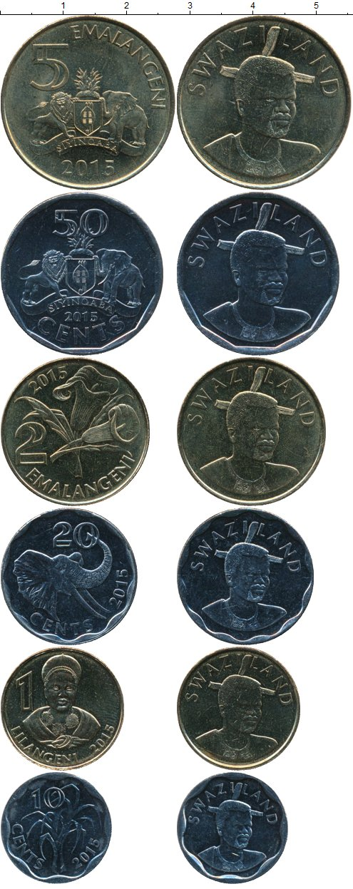 Картинка Наборы монет Свазиленд 1 лилангени Медно-никель 2015