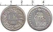 Изображение Монеты Швейцария 1 франк 1963 Медно-никель XF