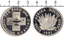 Изображение Монеты ЮАР 1 ранд 1991 Серебро Proof-