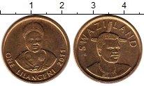 Изображение Монеты Свазиленд 1 лилангени 2011 Латунь UNC-