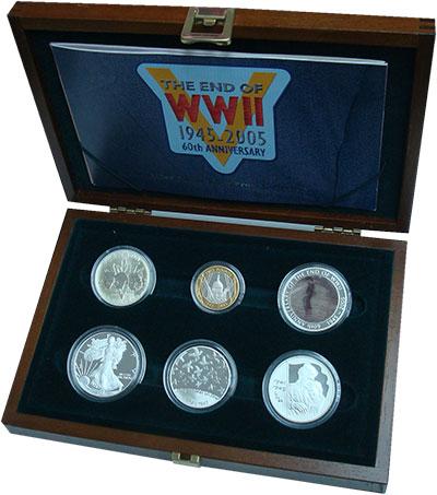 Изображение Подарочные монеты Великобритания 60 лет Окончания Второй мировой войны 2005 Серебро Proof В набор входят шесть