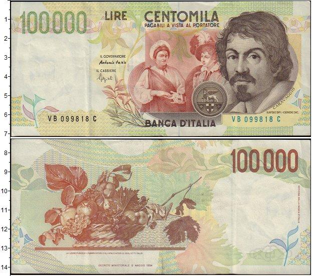 Картинка Банкноты Италия 100.000 песет  1994