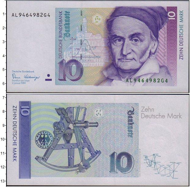 Картинка Банкноты ФРГ 10 марок  1989