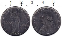Изображение Монеты Ватикан 100 лир 1965 Медно-никель UNC
