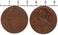 Изображение Монеты Сомали 10 сентесим 1950 Бронза XF-