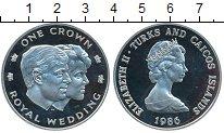 Изображение Монеты Великобритания Теркc и Кайкос 1 крона 1986 Серебро Proof-
