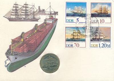 Изображение Подарочные монеты ГДР Росток 1988 Медно-никель UNC Росток - портовый го