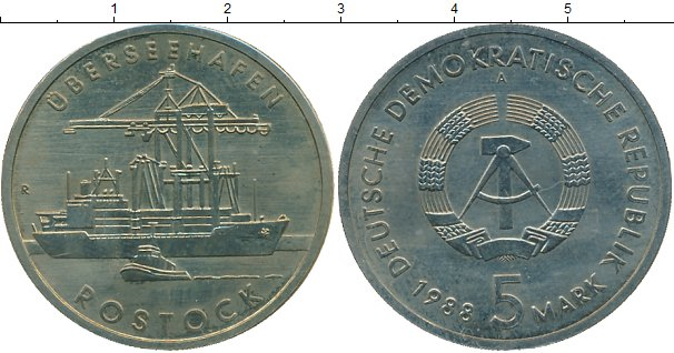 Картинка Монеты ГДР Росток Медно-никель 1988