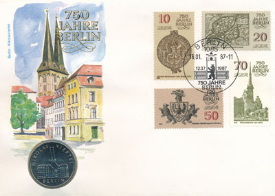 Изображение Подарочные монеты ГДР Район Берлина Николай-фиртель 1987 Медно-никель UNC Подарочный набор пос