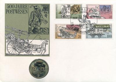Изображение Подарочные монеты ГДР 5 марок 1990 Медно-никель UNC В 1490 году императо
