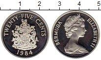 Изображение Монеты Великобритания Бермудские острова 25 центов 1984 Серебро Proof-