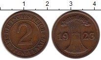 Изображение Монеты Германия Веймаровская Республика 2 пфеннига 1923 Бронза XF