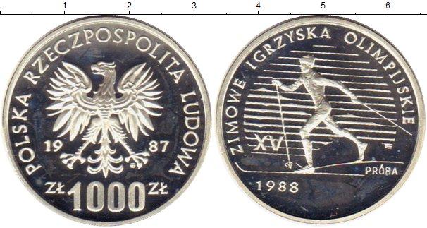 Картинка Монеты Польша 1.000 злотых Серебро 1987