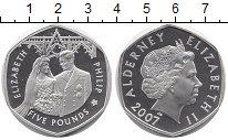 Изображение Монеты Великобритания Олдерни 5 фунтов 2007 Серебро Proof-