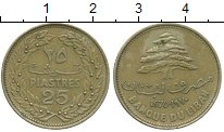 Изображение Монеты Ливан 25 пиастров 1970 Латунь XF-