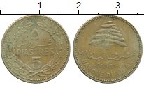 Изображение Монеты Ливан 5 пиастров 1970 Латунь VF