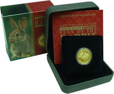 Изображение Подарочные монеты Австралия 25 долларов 2011 Золото Proof Год кролика. Золото