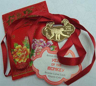 Изображение Подарочные монеты Виргинские острова 1 доллар 2016 Бронза Proof Год обезьяны. Оригин