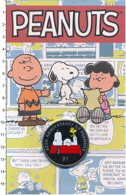 Изображение Подарочные монеты Виргинские острова 1 доллар 2015 Медно-никель BUNC 65 лет комикса Peanu