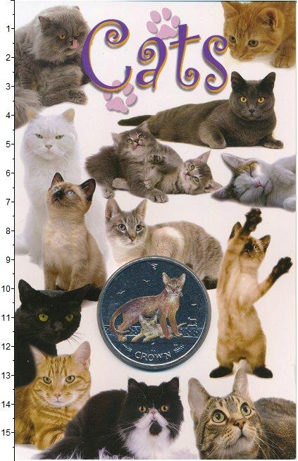 Изображение Подарочные монеты Остров Мэн 1 крона 2010 Медно-никель BUNC Абиссинская кошка. Ц