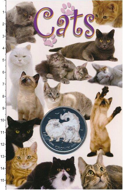 Изображение Подарочные монеты Остров Мэн 1 крона 2009 Медно-никель BUNC Персидская кошка. Цв