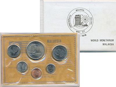 Изображение Подарочные монеты Малайзия Набор 1971-76 года 0  UNC В набор входят шесть
