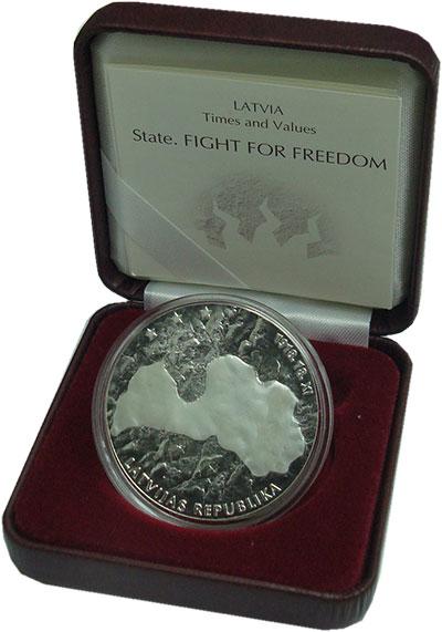 Изображение Подарочные монеты Латвия 1 лат 2006 Серебро Proof `Серия ``Государство