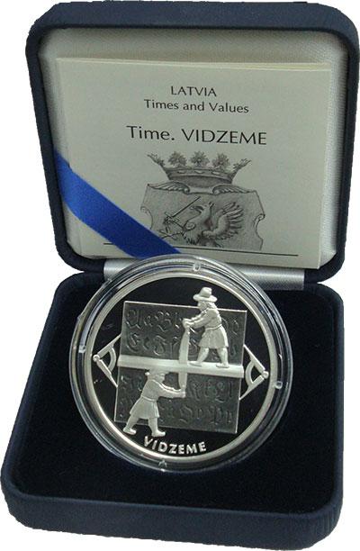 Изображение Подарочные монеты Латвия 1 лат 2004 Серебро Proof