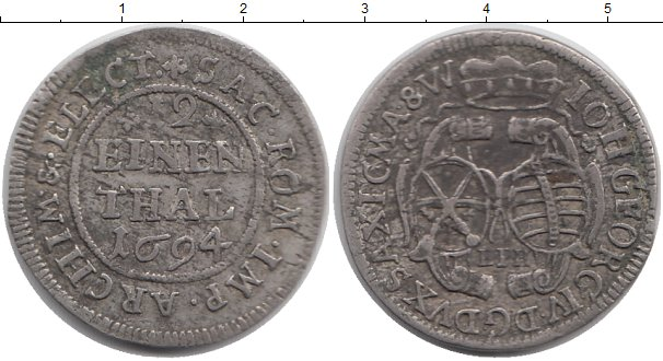Картинка Монеты Саксония 1/12 талера Серебро 1694