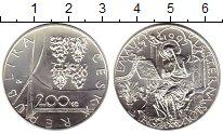 Монета Чехия 200 крон Серебро 1997 UNC фото