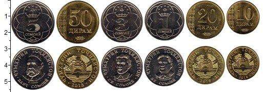 Изображение Наборы монет Таджикистан Таджикистан 2018 2018 Медно-никель XF В наборе 6 монет ном