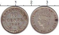 Монета Ньюфаундленд 10 центов Серебро 1942 XF- фото