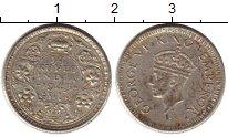 Изображение Монеты Индия 1/4 рупии 1943 Серебро XF-