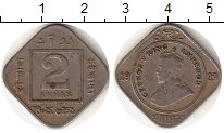 Изображение Монеты Индия 2 анны 1929 Медно-никель VF