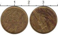 Изображение Монеты Шри-Ланка Цейлон 25 центов 1943 Латунь VF