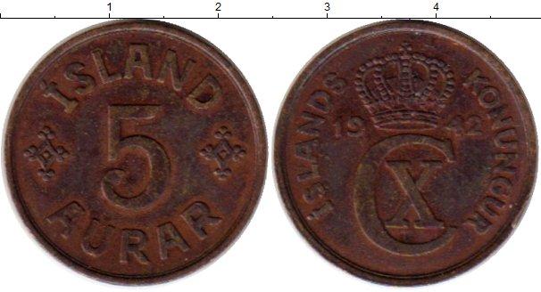 Картинка Монеты Исландия 5 аурар Бронза 1942