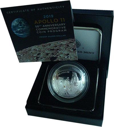 Изображение Подарочные монеты США 1 доллар 2019 Серебро Proof 50-лет высадки перво