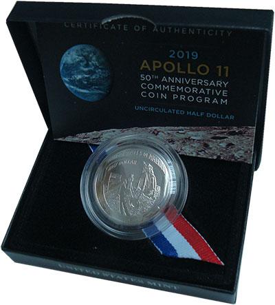 Изображение Подарочные монеты США 1/2 доллара 2019 Медно-никель UNC 50-лет высадки перво
