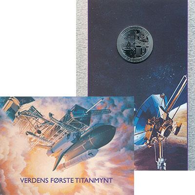 Изображение Подарочные монеты Гибралтар 5 фунтов 1999 Титан Proof Миллениум. Буклет Но