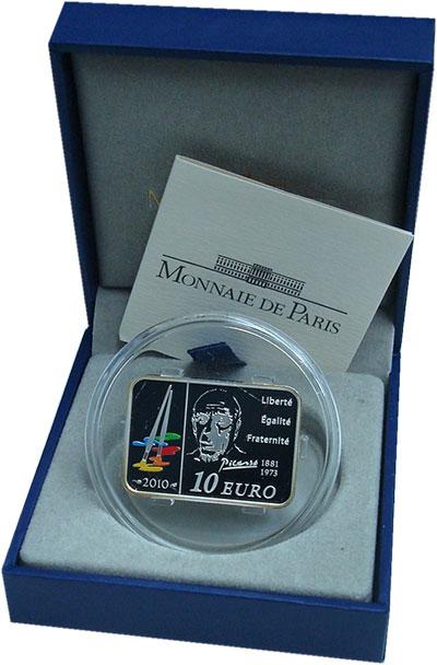 Изображение Подарочные монеты Франция 10 евро 2010 Серебро Proof- Пабло Пикассо. Сереб