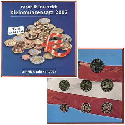 Изображение Подарочные монеты Австрия Евронабор 2002 2002  UNC В наборе восемь моне