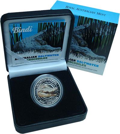 Изображение Подарочные монеты Австралия 1 доллар 2013 Серебро Proof Гребнистый крокодил.
